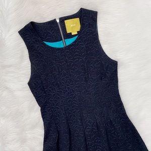 Anthropologie Navy Blue Floral Sleeveless Dress